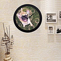 COLORSFORU Personalized Wall Clocks with Customized Photos Cute Chihuahua Pug Mix Puppy Playing Custom Elegant Black Silver Wall Clock Decor for Office Home Living Room Retro Round Wall Clock