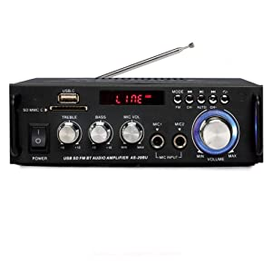 Sunbuck Karaoke Wireless Bluetooth Stereo Amplifier System – 180W Dual Channel Sound Power Audio Receiver w/USB, SD Card, FM Radio, 2 Mics in for Home Theater Speakers with Remote Control.(AS-29BU)