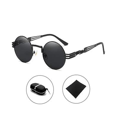 Gótico Steampunk gafas de sol Hombres Mujeres Metal Ronda ...