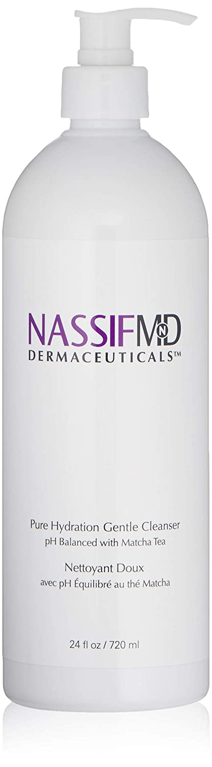 NassifMD Pure Hydration Facial Cleanser - Antioxidant Rich Vegan Face Wash Infused with Matcha Tea to Calm Soothe and Hydrate Face, Contains Vitamin C to Help Rejuvenate Skin (24 fl oz)