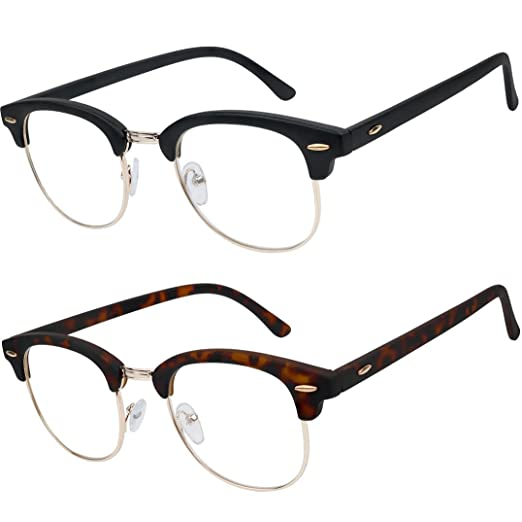 5e124aeb31d1 Amazon.com  READING GLASSES Set of 2 Fashion Clubmaster Style Readers  Quality Spring Hinged Glasses for Reading for Men and Women +1  Health    Personal Care