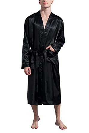 Dolamen Men\'s Dressing Gown Bathrobe Kimono Satin Long, Silky Soft ...