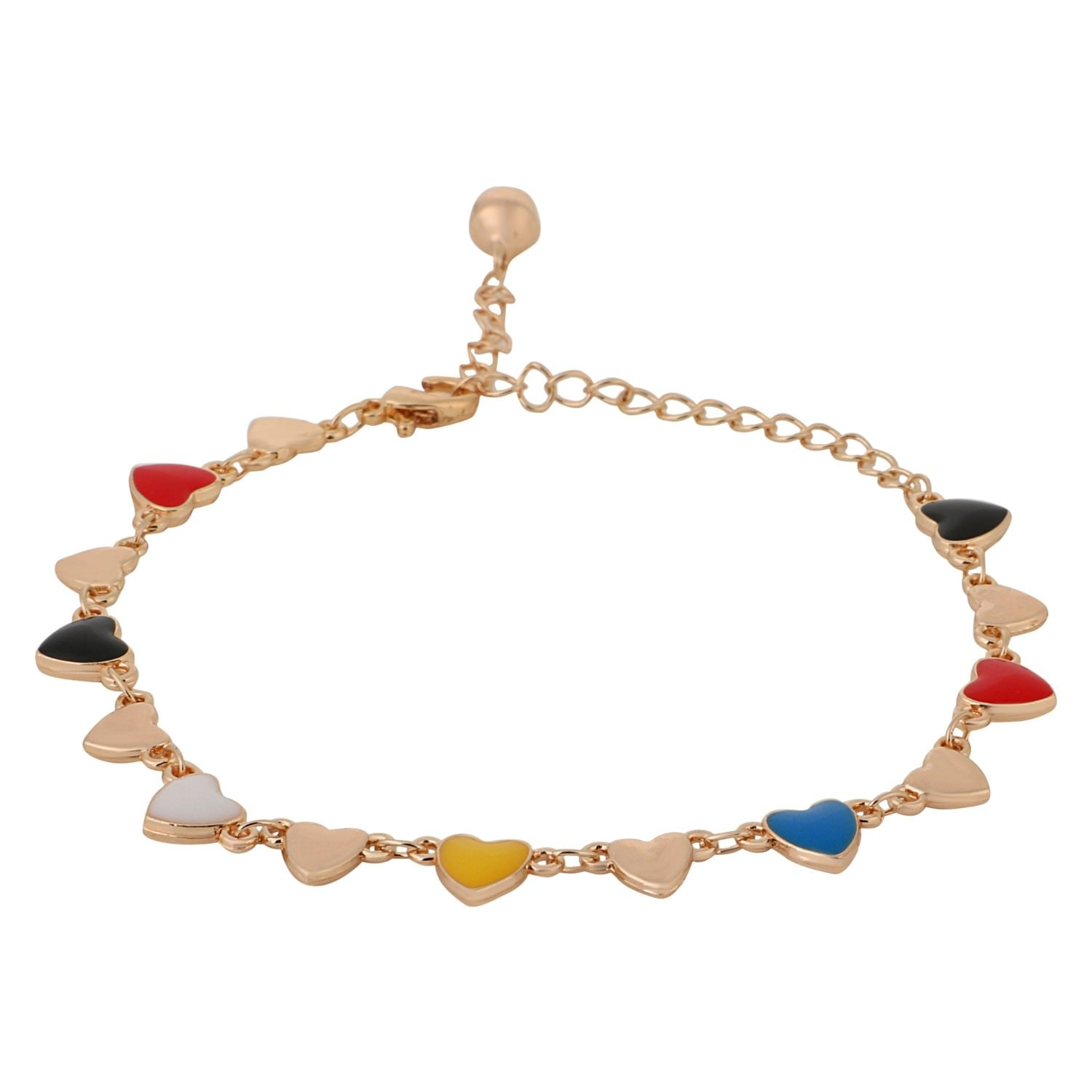 Efulgenz Multi Color Gold Tone Enamel Hearts Chain Link Charm Bracelet for Women and Girls with an extender.