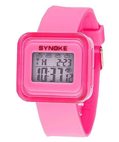 Niños impermeable luz de fondo Jelly Colorful electrónico digital Deporte Relojes rosa: Amazon.es: Relojes