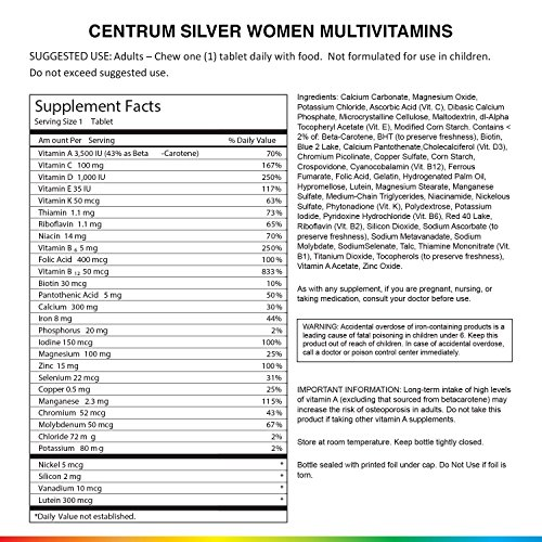 Centrum Silver Women (200 Count) Multivitamin / Multimineral Supplement Tablet, Vitamin D3, Age 50+ by Centrum (Image #5)