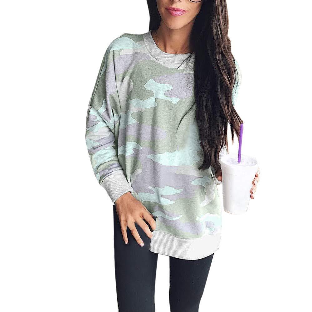 Fashion Women Camouflage Casual Top T Shirt Ladies Loose Long Sleeve Top Blouse yijiamaoyiyouxia