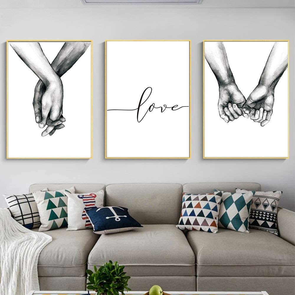 Kiddale Love and Hand in Hand Wall Art Canvas Print Poster,Simple Fashion Black and White Sketch Art Line Drawing Decor for Home Living Room Bedroom Office(Set of 3 Unframed, 16x20 inches)