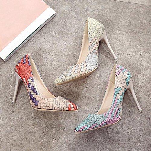 Tacones de mujer Covermason Moda tacones finos Zapatos colores mezclados Tacones bajos Zapatos(38 EU, rojo): Amazon.es: Ropa y accesorios