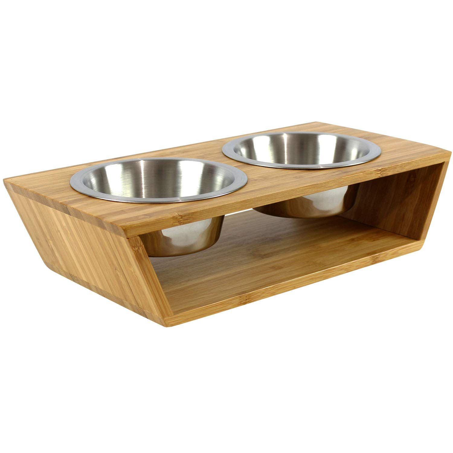 Wantryapet 4'' Elevated Dog Cat Dog Feeder with 2 Stainless Steel Bowls, Bamboo Raised Stand Pet Feeder Perfect for Small Dogs & Cats
