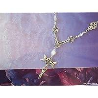 Collana dea madre, triplice luna, nodo celtico, pagano, handmade
