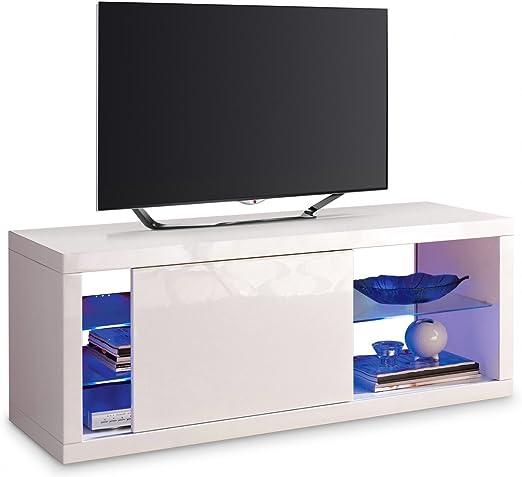Mueble para televisor, color blanco con puerta corredera y LED.: Amazon.es: Hogar