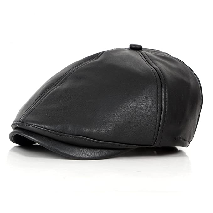 8cbf639ccc0 WAZZIT 6 Panel Leather Newsboy Hats Solid Ivy Irish Cabbie Caps Driver  Beret Hat - Black