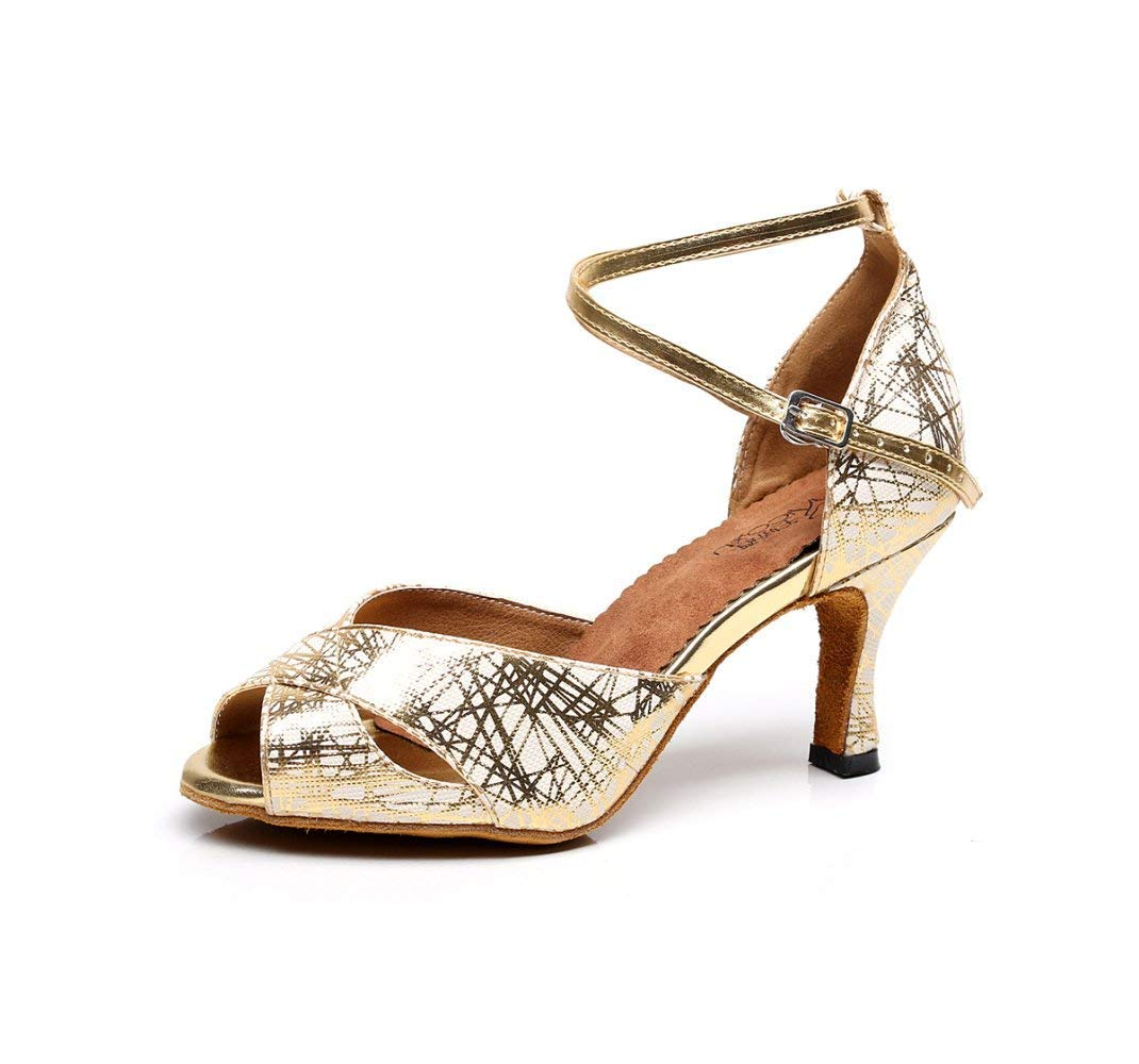 HhGold Damen Peep Toe Niedriger Absatz Glitter Salsa Tango Ballsaal Latin Ankle Strap Tanzsandalen GoldHeeled7.5cm-UK3   EU33   Our34 (Farbe   Goldheeled7.5cm Größe   UK5.5 EU38 Our39)