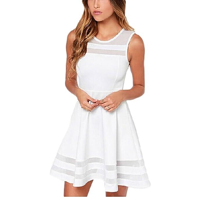 Minetom Damen Sommerkleid ärmellos Dacron Minikleider Abend Kleid ...