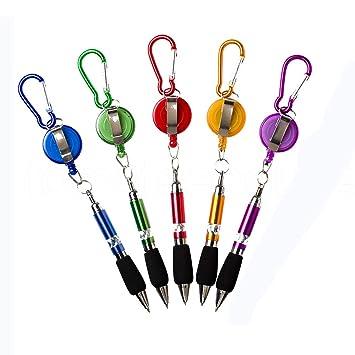 5 Pcs//Set zuf/ällige Farbe ROSENICE Kugelschreiber Pen Karabiner Stift