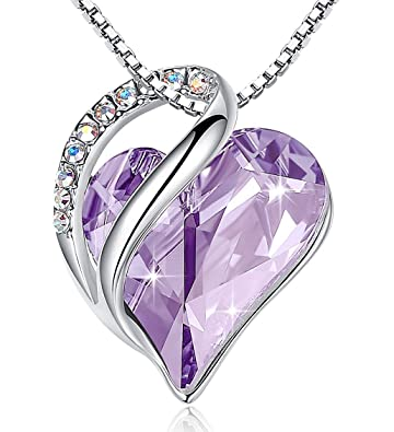 e98128f54be8 Leafael  quot Infinity Love Heart Necklace Made with Swarovski Crystals  Alexandrite Light Purple June Birthstone