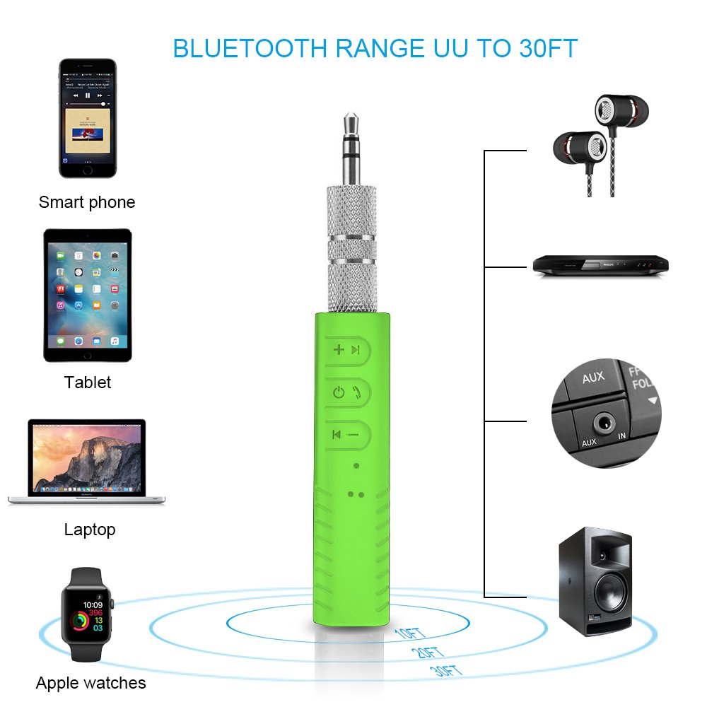 AoLiPlus Bluetooth 4.1 Receiver,AoLiPlus Protable Wireless Blurtooth Car Adapter /& Hands-Free Car Kits Mini Music Adapter for Home//Car Audio Music Streaming Stereo System BR01