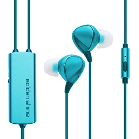 Golden Shine H100 Active Noise Cancelling Earphone Wired Earbuds In-Ear Headphone with Microphone (Blue) Headsets at amazon
