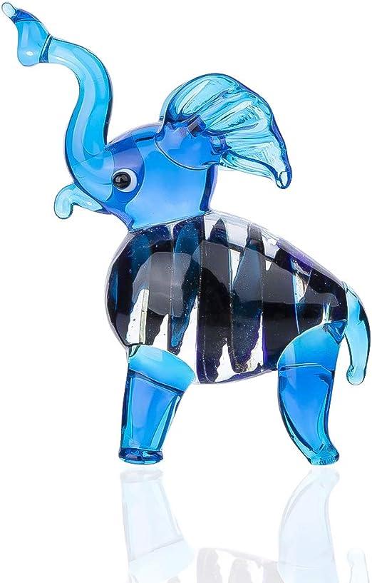 "New 10/"" Hand Blown Art Glass Elephant Figurine Sculpture Statue Multicolor"