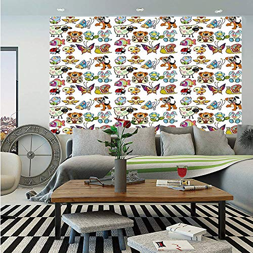 SoSung Nursery Huge Photo Wall Mural,Collection of Cartoon Animals Adorable Funny Toy Figures Play Time Childhood Theme,Self-Adhesive Large Wallpaper for Home Decor 108x152 inches,Multicolor