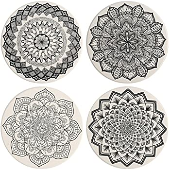 IPHOX Drink Coasters - Absorbent Stone Coasters Set with Cork Base, Avoid Scratching Furniture, Suitable for Kinds of Mugs and Cups, 4 Pack (Mandala style ...