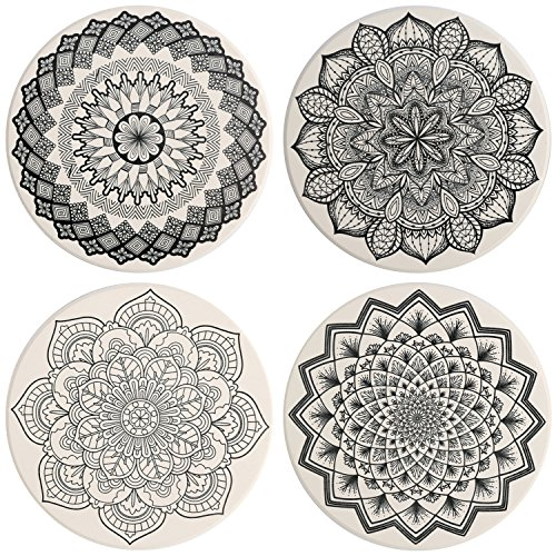 IPHOX Drink Coasters - Absorbent Stone Coasters Set with Cork Base, Avoid Scratching Furniture, Suitable for Kinds of Mugs and Cups, 4 Pack (Mandala style #1) by IPHOX