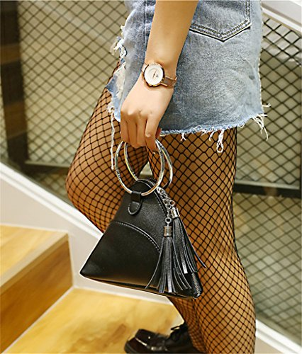 Wristlet Strap Clutch Wrist LIZHIGU Leather Wallet Women's 346 Purse With PU Black Triangle wnxgxHaq