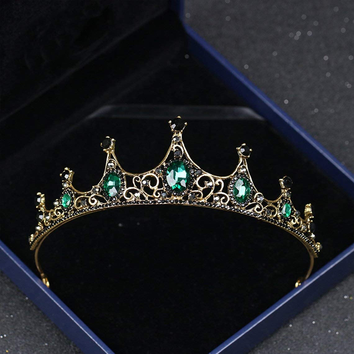 Zinniaya Mari/ée Mariage Reine Couronnes Accessoires De Cheveux De Mari/ée pour Femmes Retro Strass Couronne Bijoux De Mariage De Mari/ée