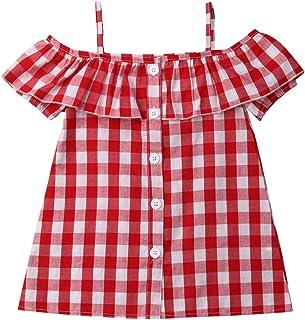 XBRECO Toddler Baby Girl Plaid Ruffle Dress,Kid Off Shoulder Short Sleeve Summer Casual Mini Dress