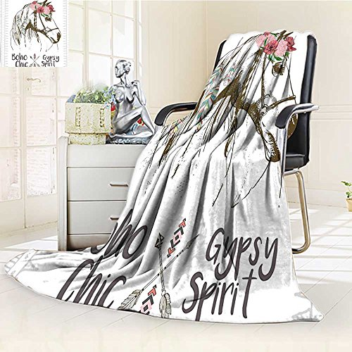 YOYI-HOME Luxury Collection Ultra Soft Plush Boho Chic Style Horse Head Sketch with Flowers Colorful Feathers Gypsy Spirit Brown Pink Green All-Season Throw/Bed Blanket /W59 x (Horse Head Luxury Chenille)