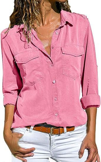 Rcool Camiseta Camisetas Tops y Blusas Camisetas Mujer Manga Corta Camisetas Deporte Mujer Camisetas Mujer, Sólido de Manga Larga botón de la Camisa de Cuello Bolsillos: Amazon.es: Ropa y accesorios