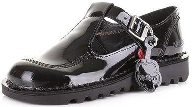 32c9dbb7d9 Kickers Kick Lo Aztec Black Patent Leather Womens Mary Janes School Shoes-41