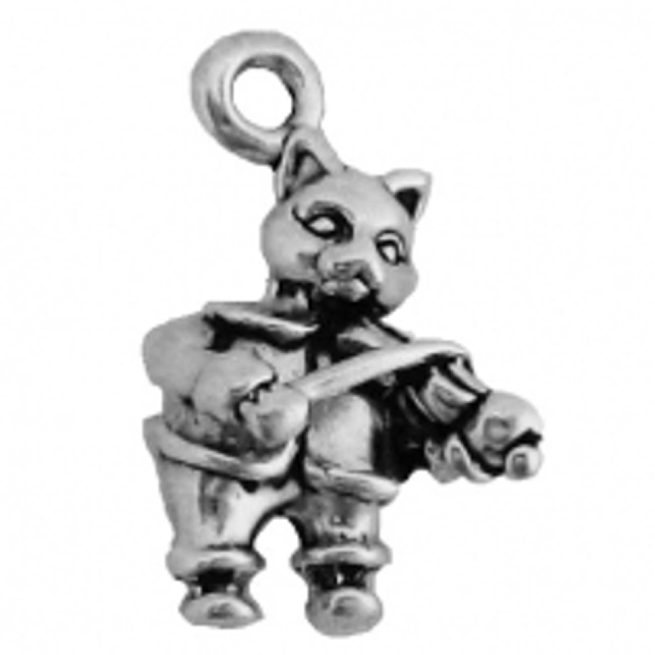 Sterling Silver 7 4.5mm Charm Bracelet With Attached 3D Pet Cat Playing Fiddle Charm