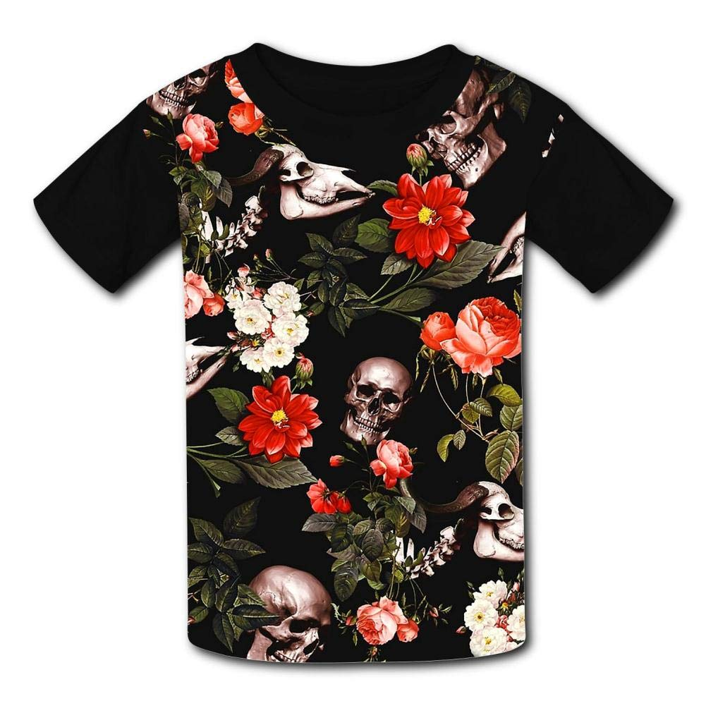 MOSDELU Kids Skull and Floral Pattern O-Neck T Shirts for Fashion Children Boys Girls Tee Shirt