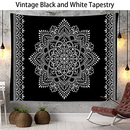Mandala Tapestry Wall Hanging, Wall Tapestry for Bedroom Living Room Dorm Decorations, Black and White Tapestry Mystic Tapestry Home Decor, Hanging Tapestry Wall Art, 51.2