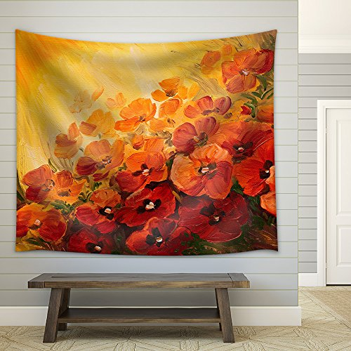 wall26 - Oil Painting - Abstract Illustration of Poppies on a red-Yellow Background, Wallpaper - Fabric Wall Tapestry Home Decor - 51x60 inches