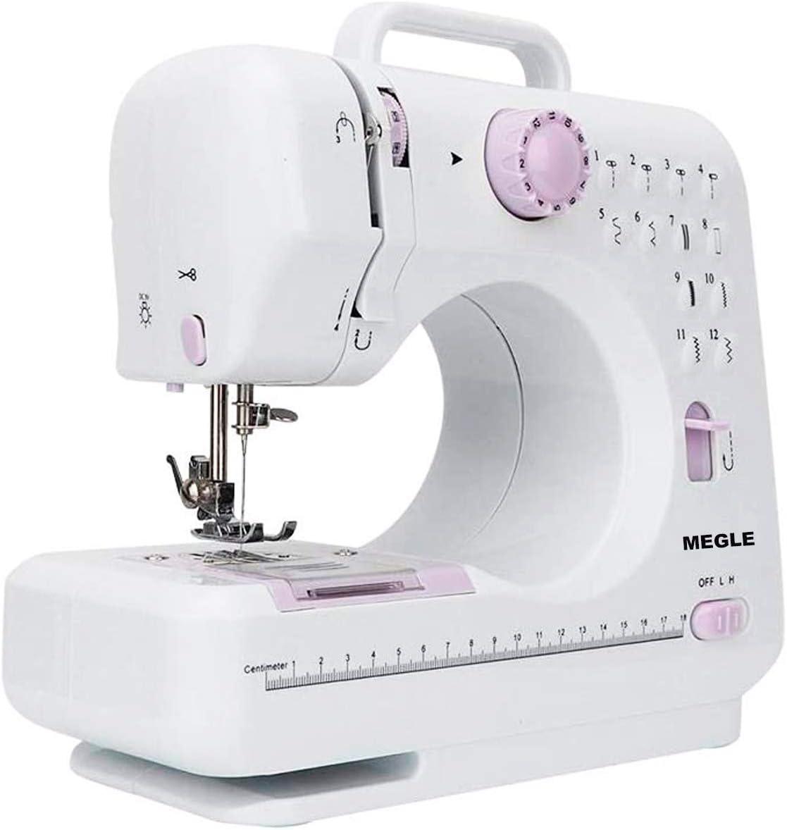 Máquina de coser, ligera, totalmente equipada, 12 puntos.