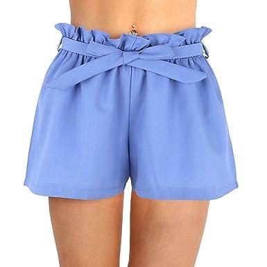 fa17b949c1a5a Freebily Shorts de Bain Femme Casual Short de Plage Taille Haute Shorts  Décontracté Loose Bas Bermudas