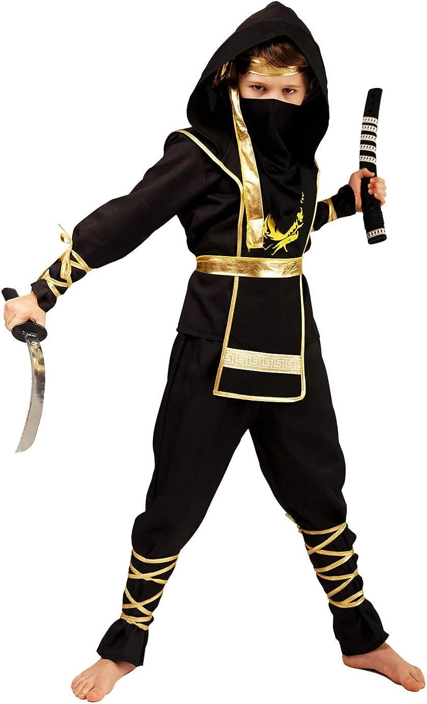 Boys Golden Dragon Ninja Assassin Costumes