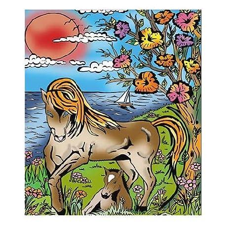 Coloriage Cheval Et Dauphin.Colorvelvet 37 X 37 X 28 Cm Dessin Chevaux Coloriage Systeme