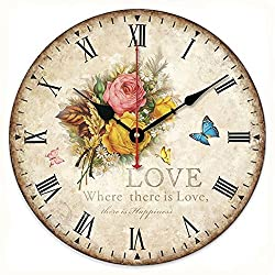 SkyNature Romantic Decorative Wooden Wall Clock French Style with Roman Numerals (12 Inch, Rose Love)