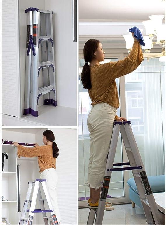 Liuwenan Escalera de aleación de Aluminio para el hogar Plegable Engrosamiento Escalera Interior Proyecto Escalera, Puede soportar 200 KG (Color : Silver, Size : High 115CM): Amazon.es: Hogar