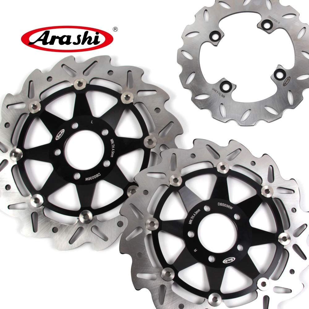 Arashi Front Rear Brake Disc Rotors for KAWASAKI Ninja 636 2002 Motorcycle Replacement Accessories ZX6R ZX-6R 1999 2000 Black ZX636 Z750 Z750S Z1000