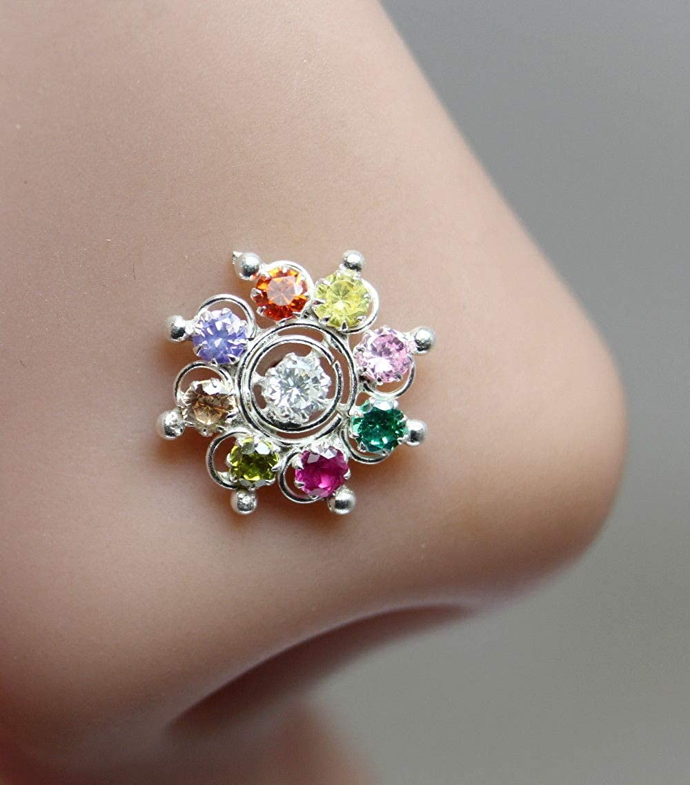 Karizma Jewels Ethnic Indian 925 Sterling Silver Multi-Color CZ Indian Nose Ring Push Pin