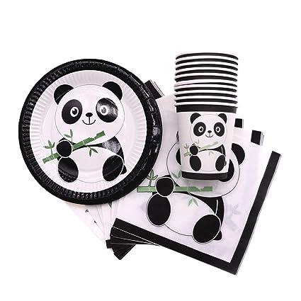 Amazon.com: Lindo panda taza plato servilletas desechables ...