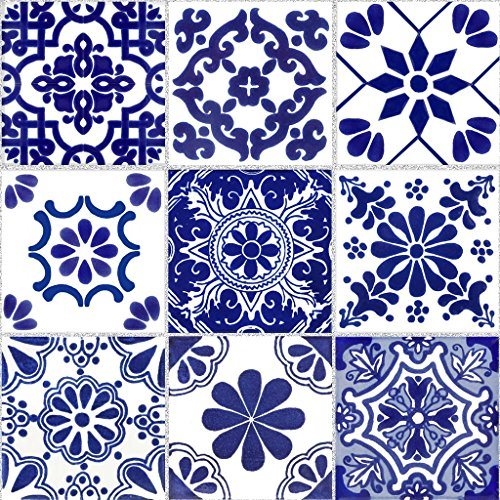 Tile Stickers Mexican Talavera 24pc 4-1/4in Peel and Stick for kitchen and bath TR007-4Q by SnazzyDecal