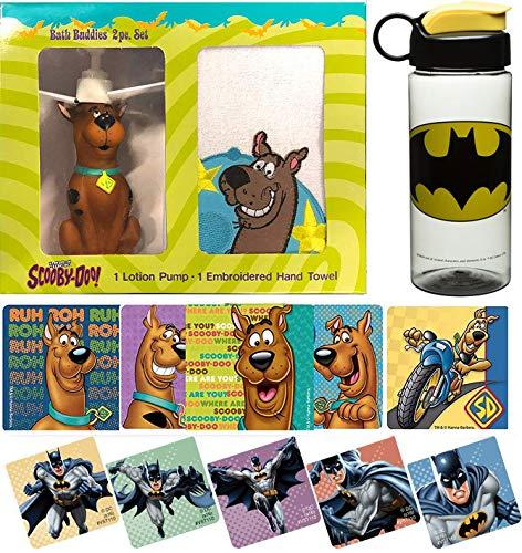 (Bat Dog Buddy Scooby-Doo! Figure Fun Dispenser Time Kids Cartoon Character Set Zoinks! Batman Water Bottle & Scooby Bath Hand Towel + Action Stickers Bundle)