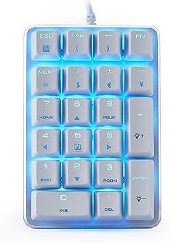 Teclado Numérico Mecánico GATERON Blue Switch Teclado de juego retroiluminado con cable azul 21 llaves Mini Numpad Teclado portátil Diseño extendido ...
