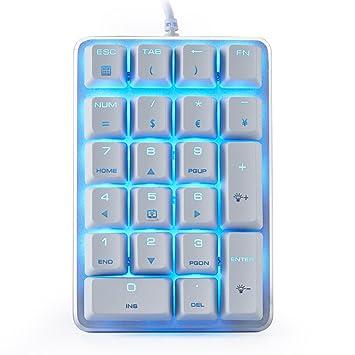 Teclado Numérico Mecánico GATERON Interruptor marrón Teclado de juego retroiluminado con cable azul 21 llaves Mini Numpad Teclado portátil Diseño extendido ...