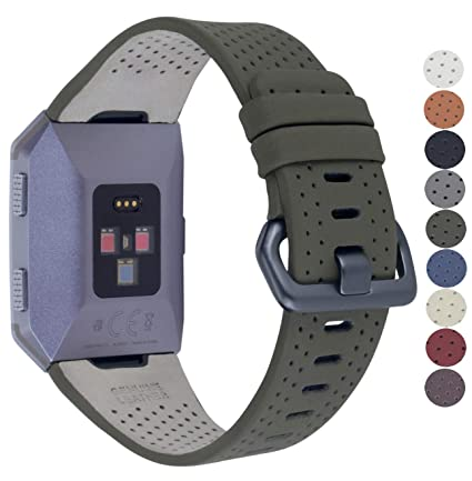 JSGJMY Fitbit Ionic Bands Men Women Large Size Perforated Leather Replacement Strap with Space Grey Metal Clasp for Fitbit Ionic watch(Army green)
